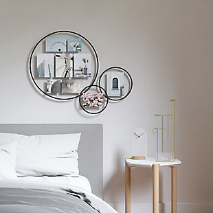 UMBRA Black Wall Float Mirror, , rollover