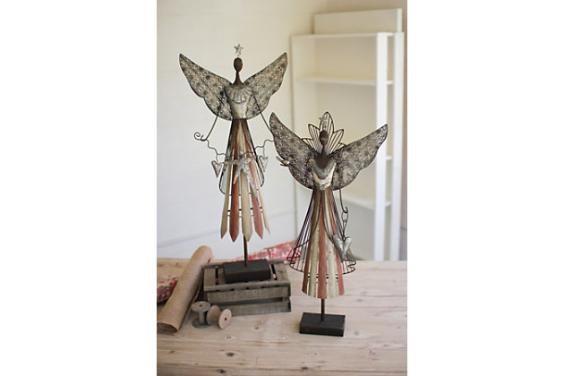 Holiday Set of Two Galvanized Angels, , large
