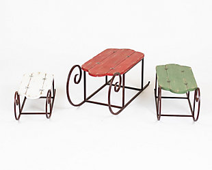 Holiday Set of Three Painted Wood and Metal Sleighs, , large