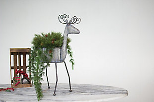 Holiday Galvanized Metal Deer Planter, , rollover