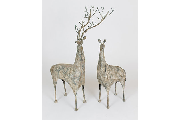 Holiday Set of Two Metal Deer, , large