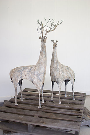 Holiday Set of Two Metal Deer, , rollover