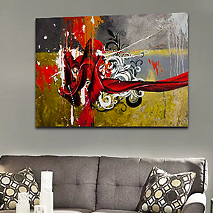 """PAF 40"""" x 30"""" Silver and Red Giclee on Canvas, , rollover"""
