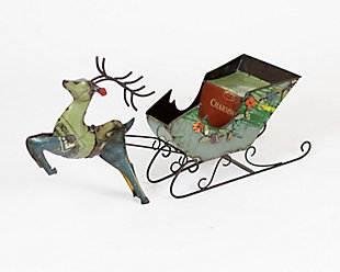 Holiday Recycled Iron Deer with Cart, , large