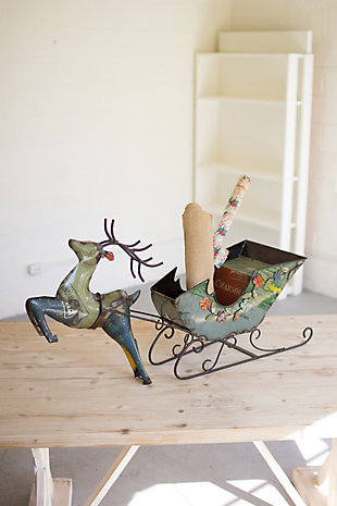 Holiday Recycled Iron Deer with Cart, , rollover