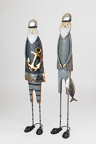 Holiday Set of Two Painted Metal Fishermen, , large
