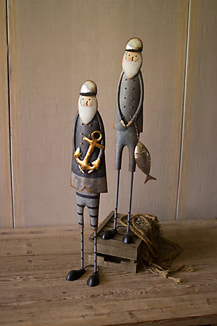 Holiday Set of Two Painted Metal Fishermen, , rollover
