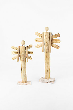 Holiday Set of Two Wooden Angels With Moveable Arms, , large