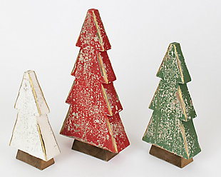 Holiday Set of Three Wooden Christmas Trees, , large