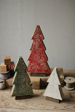 Holiday Set of Three Wooden Christmas Trees, , rollover