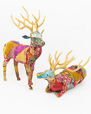 Holiday Set of Two Stags With Recycled Patchwork Cloth, , large