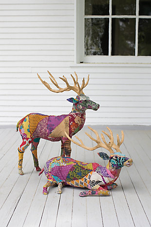 Holiday Set of Two Stags With Recycled Patchwork Cloth, , rollover
