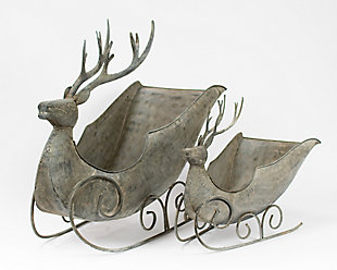 Holiday Set of 2 Deer Sleighs, , large