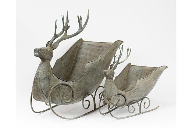 Holiday Set of 2 Deer Sleighs, , large
