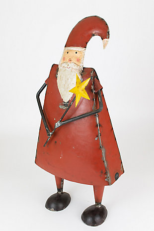 Holiday Recycled Iron Santa Holding a Star, , large