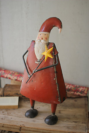 Holiday Recycled Iron Santa Holding a Star, , rollover