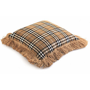 Holiday Herringbone Burlap & Plaid Pillow, , large