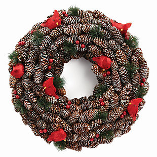 Holiday Cardinal Pine Cone Wreath, , large