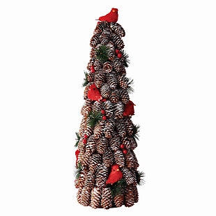 Holiday Cardinal Pine Cone Topiary, , large