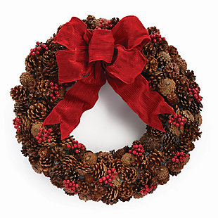 Holiday Pine Cone & Berry Wreath, , large