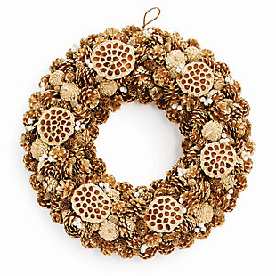 Holiday Pine Cone, Lotus & Pearl Wreath, , large