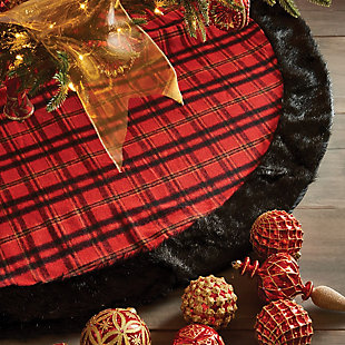 Holiday Plaid & Faux Fur Tree Skirt, , rollover