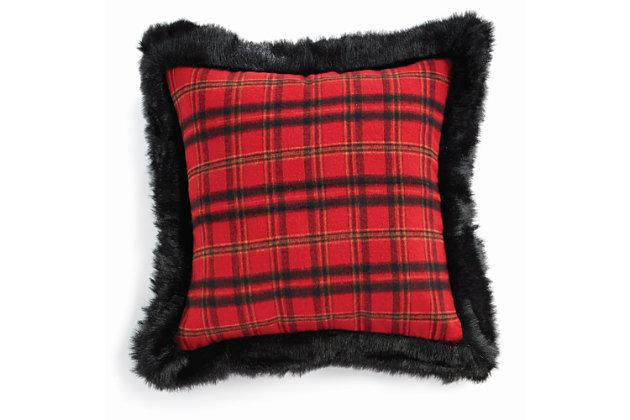 Holiday Plaid & Faux Fur Square Pillow, , large