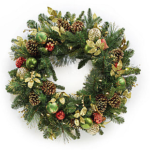Holiday Highland Holiday Lighted Wreath, , rollover