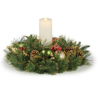 Image of Holiday Highland Holiday 1 Candle Centerpiece, Red/Gold/Green