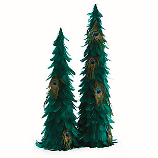 Holiday Peacock Feather Trees (Set of 2), , large