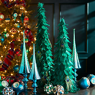Holiday Peacock Feather Trees (Set of 2), , rollover