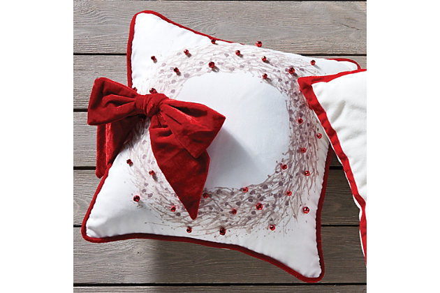 Holiday Ilex Berry Wreath Square Pillow, , large