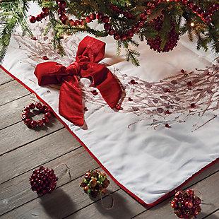 Holiday Ilex Berry Square Tree Skirt, , rollover