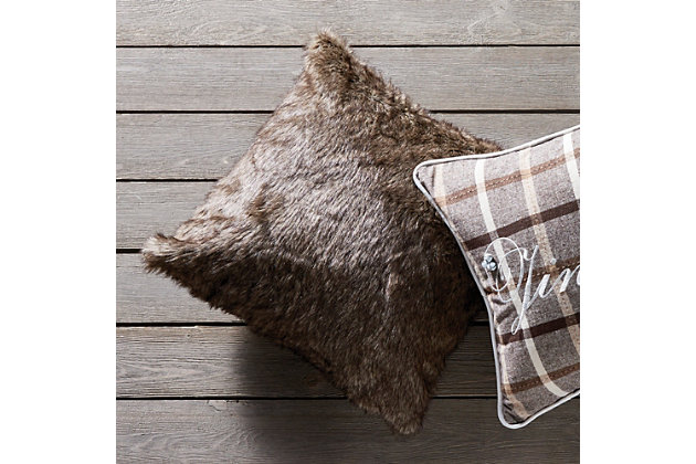 Holiday Faux Fur Square Pillow, , large