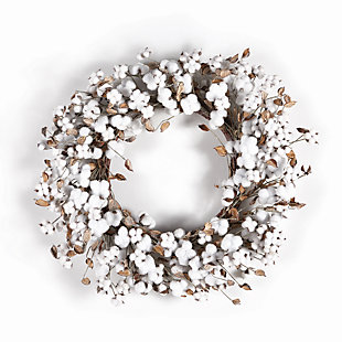 Holiday Winter Cotton Wreath, , large