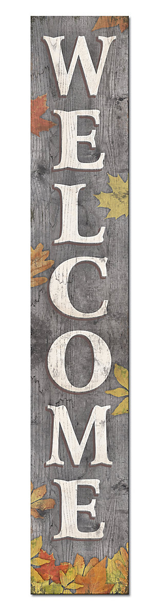 Grey Welcome Porch Board with Fall Leaves, , large