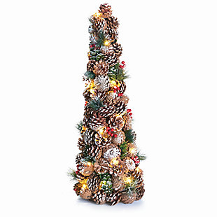 Holiday Frosty Pine Cone & Berry Pine Lighted Topiary, , large