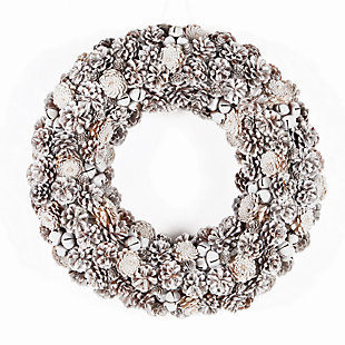 Holiday Frosty Pine Cone Jingle Bell Wreath, , large