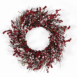 Holiday Snowy Ilex Berry Wreath, , large