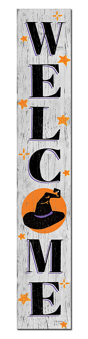 Halloween Welcome Porch Board with Witch Hat, , large