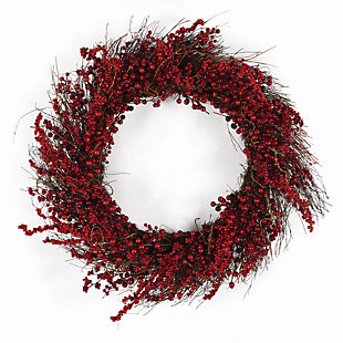 Holiday Ilex Berry Wreath, , rollover