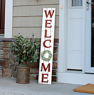 Christmas Welcome Porch Board with Wreath, , rollover