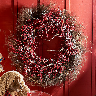 Holiday Snowy Ilex Berry Wreath, , rollover