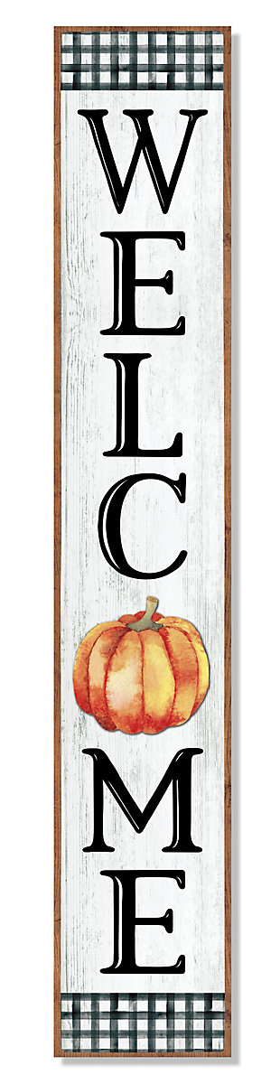 Fall Welcome Porch Board with Pumpkin, , large