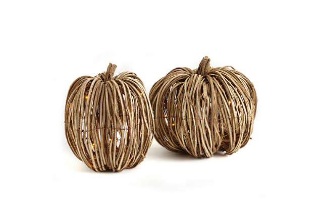 Holiday Grapevine Lighted Pumpkins (Set of 2), , large