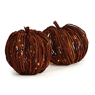 Holiday Grapevine Lighted Pumpkins (Set of 2), , rollover