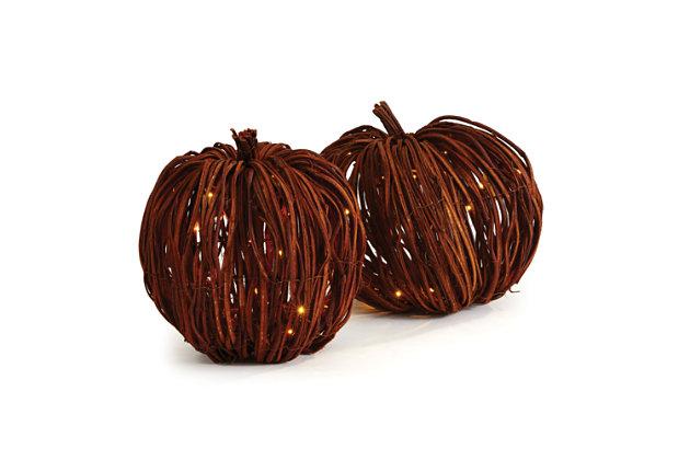 Holiday Grapevine Lighted Pumpkins (Set of 2), , large