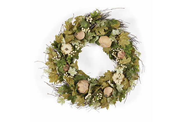 Holiday Harvest Pumpkin Wreath, , large
