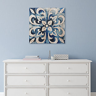 Empire Art Direct Cobalt Tile Abstract Wall Art Print on Hand Finish Ash Wood, , rollover