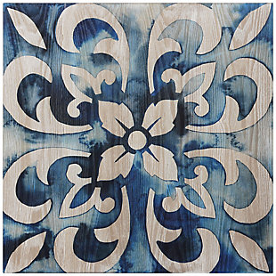 Empire Art Direct Cobalt Tile Abstract Wall Art Print on Hand Finish Ash Wood, , large